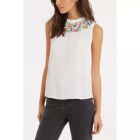 White Floral Embroidery Sleeveless Blouses
