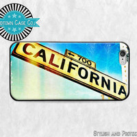 California Street Sign Sunny iPhone 6 Rubber Case, California Street Sign Sunny, iPhone 5 Rubber Case, California Street Sign Sun iPhone 5C