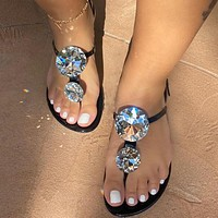 2020 new rhinestone women's sandals slippers shoes