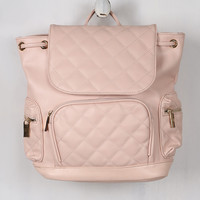 Vegan Leather Quilted Pullstring Backpack