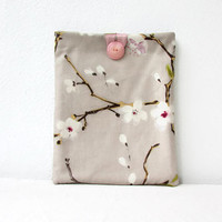 Blossom IPad cover, Cherry blossom print fabric, 10 inch tablet cover, padded Ipad case, fabric Ipad cover,, handmade in the UK