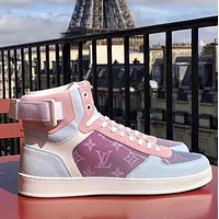 Hipgirls Louis Vuitton LV Women's Casual Embossed Letters Gradient High-Top Sneakers Shoes