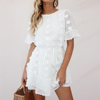 Casual White Dress Women O Neck Short Flare Sleeve Party Beach Ruffles Sundress Backless Elegant Streetwear