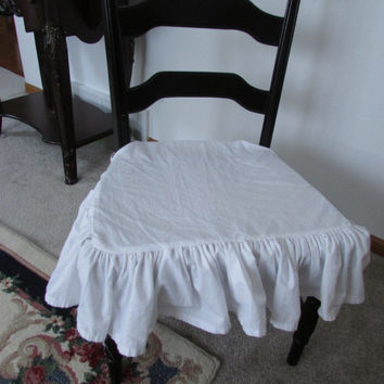 Shabby chic Ruffle Chair cover/ White  Ruffle Seat Cover
