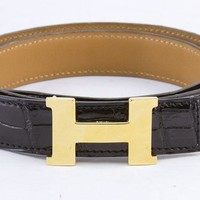 HERMES Black crocodile constance H belt with gold detail xs