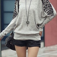 OASAP - Casual Leopard Panel Long Bat Sleeve Blouse - Street Fashion Store