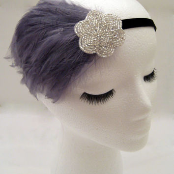 The Lucille - The Great Gatsby style headpiece, 1920s headbands, gray feather headband, gray Gatsby, gray fascinator, party headband
