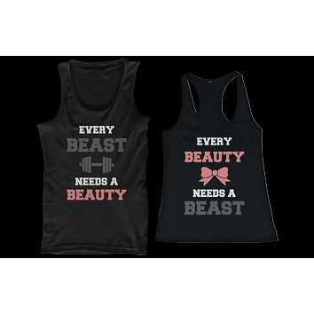 Beauty and Beast Need Each Other His and Her Matching Couple Tank Tops