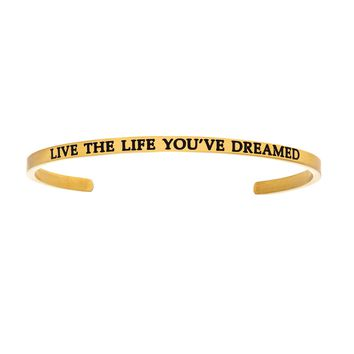 Intuitions Stainless Steel LIVE THE LIFE YOU'VE DREAMED Diamond Accent Cuff Bangle Bracelet