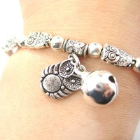 Row of Owl Bird Shaped Stretchy Charm Bracelet in Silver   DOTOLY