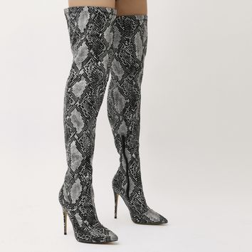 Saturn Over The Knee Pointed Toe Boots in Black and White Snake