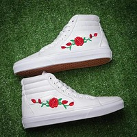 Vans Trending Women Men Rose Embroidery Canvas Old Skool High Top Low Top Flats Sneakers Sport Shoes White I12355-1