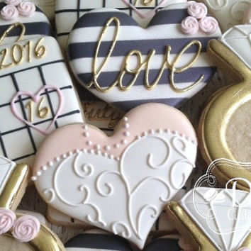 Bachelorette Bridal Shower Engagement Wedding Anniversary Black White Gold Cookies