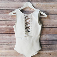 Eileen Detailed Front Bodysuit (White)