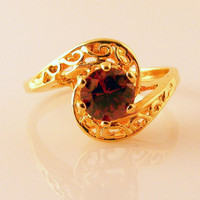 Vintage Ring Ruby Red Gold Tone Filigree Cocktail by TidBitz