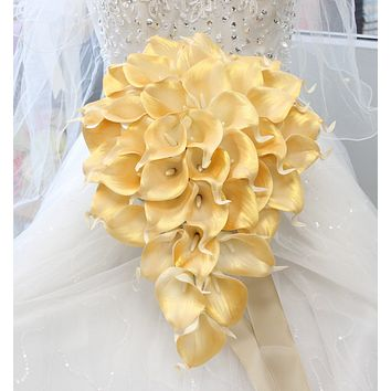 Light Metallic Champagne and Gold Sparkle Wedding Teardrop Bouquet - Real Touch Calla Lily with Champagne Ribbon