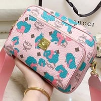 MCM New fashion more letter print shoulder bag crossbody bag Pink