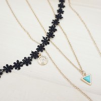 Black Flower Lace Choker and Layered Leaf Necklace