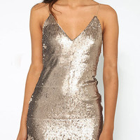 V-Neck Backless Sequins Bodycon Club Dress
