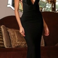 Black Spaghetti Strap Plunge V Neck Backless Twist Ruched Bodycon Maxi Dress Gown