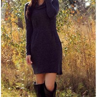 Cowl Neck Pleated Dress