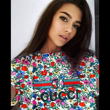Gucci Fashion Women Man Print Floral Print blue Red Pink Flower Green Leaf Tee Youth Shirt Fashioin Top