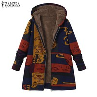 2018 ZANZEA Winter Jacket Coat Women Plush Fluffy Warm Outerwear Casual Hooded Long Sleeve Vintage Printed Windbreaker Plus Size