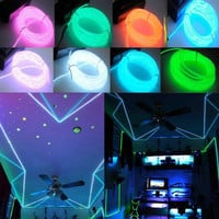 Xmas Flexible Neon Light Glow EL Wire Rope Cable Strip LED +Battery Conctoller 1/ 2/ 3meters