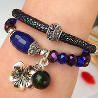 Set of Two Bracelets: Purle Candy Jade Bracelet and Eco Leather Bracelet, Healing Beaded Bracelets