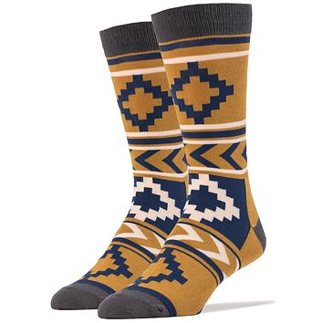 Show Down Geometric Vintage Men's Crew Socks