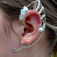 Pair of Silver with Genuine Fresh Water Pearls and blue flowers Elf Ear Cuffs, Renaissance, Elven, Hobbit, Elf, Fantasy Ear Wraps