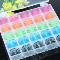 25 Empty Clear Colorful Bobbin Box Sewing Machine Spool Brother Babylock Good