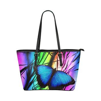 Tote Bags, Purple and Black Blue Butterfly Style Tote Bag