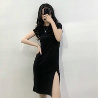 2018 Summer women Pure High-waist Thin Short Sleeve Dress Slim Sexy Split Black Vintage vadim plus size maxi Dresses
