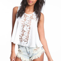 Floral Crochet Chiffon Top - LoveCulture