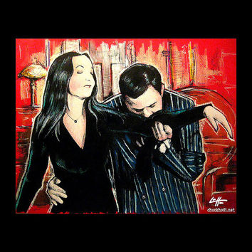 """Print 8x10"""" - Oh Tish I love it when you speak French - The Addams Family Morticia Gomez Wednesday Classic Dark Art Comedy TV Horror Gothic"""