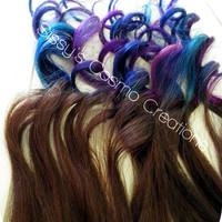 """ONE PIECE 12"""" Purple Pink Teal Indigo Blue Brown Ombre Dip Dye Clip In Human Hair Extensions"""