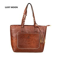 Luxury Designer Tassel Shoulder Bags Vintage PU Leather Women Handbags sac a main Shopping Tote Vintage Fashion dropshipping 107