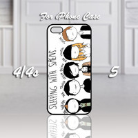 Sleeping With Sirens Cartoon, Design For iPhone 4/4s Case or iPhone 5 Case - Black or White (Option)