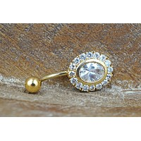Gold Belly Button Ring Paved Crystal