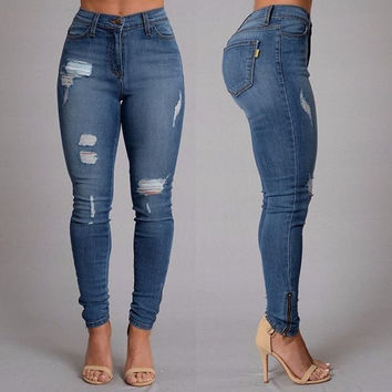 Women Jeans Full Length Mid-waist Pencil Pants = 5709405377