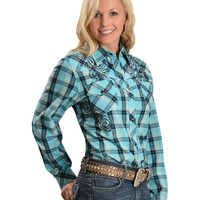 Red Ranch Plaid with Rhinestones & Embroidery Long Sleeve Top - Sheplers