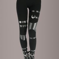 Black Faux Leather Moon Child Leggings with Panels