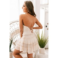 Take Me On A Date Tiered Dress (Beige)