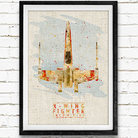 Star Wars X-Wing Fighter T-65 Watercolor Art Print, Minimalist Art Print, Watercolor Poster, Home Decor, Not Framed, Buy 2 Get 1 Free!