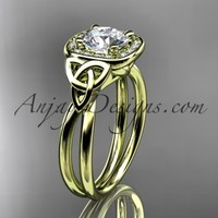 14kt yellow gold diamond celtic trinity knot wedding ring, engagement ring CT7330