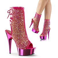 """Delight 1018MS Chrome Pink Iridescent Rhinestone Ankle Boot 6"""" High Heels"""