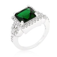 Halo Style Princess Cut Emerald Green Cocktail Ring