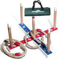 Elite Ring Toss Game - Children's or Family Outdoor Quoits Game - Compact Carry Bag Included Plus 10 Extra Rings FREE