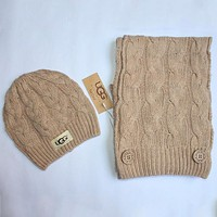 UGG 2018 autumn and winter men and women models wild hipster scarf + knitted hat two-piece F0908-1 khaki